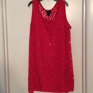 Red cutout sheer tank top - small